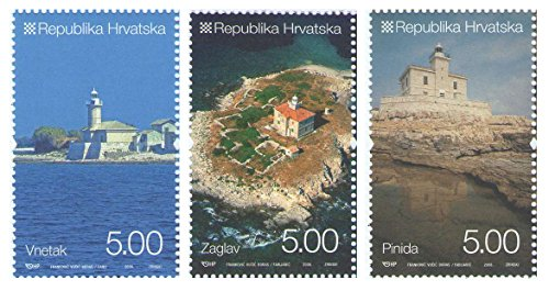 Leuchttürme Kroatien / 3er-Set offizielle Briefmarken 2008 - Scott # 696-698 / Kroatien/MNH