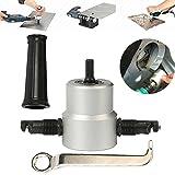 Nibble - Lama da taglio in metallo a doppia testa, taglierina per seghe Nibbler, kit di utensili elettrici per trapano regolabile a 360 gradi