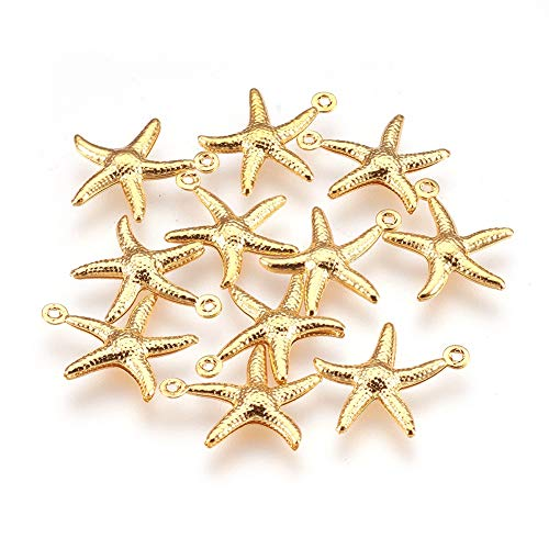 Cheriswelry 10pcs Golden Starfish Charms Beads 304 Stainless Steel Mini Sea Star Fish Charms Pendants Dangle Beads for Summer Beach Bracelet Necklace Choker Jewelry Making Supplies