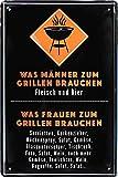 """Blechschilder Lustiger Grill Spruch """"was Männer zum Grillen Brauchen – Fleisch UND Bier"""" Deko Schild für Garten Geschenkidee 20x30 cm"""
