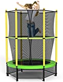 ROANUDE Kids Trampoline, 4.5FT Indoor Outdoor Toddler with Enclosure Net and Safety Mat Entertainment Mini Trampoline, Boys and Girls Birthday Gift Age 3-10
