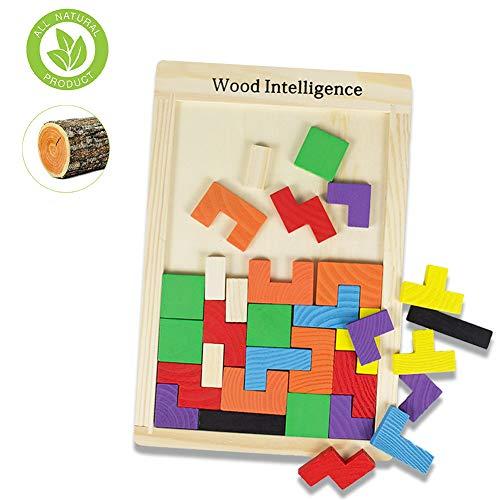 SeWooo Tangram Kinder Steckspiel Legespiel bunt Holz geometrisch Formen und Farben mit Box Knobelspiele Montessori Pädagogisches Geschenk für Kinder