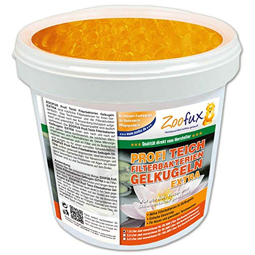 ZOOFUX Profi Gartenteich Filterbakterien Gelkugeln EXTRA (GRATIS Lieferung in DE - Lösen Sich nach und nach auf und geben dabei kontinuierlich die wichtigen Mikroorganismen ab), Inhalt:1 Liter