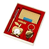 Lavanaya Silver - Gold Plated Gift Set Pen, Visiting Card Holder, Apple Shape Clock and Key Ring (Golden, Pack of 4) Gift for Boss,Birthday Gift for Friend, Corporate Gift Set,Diwali Gifts