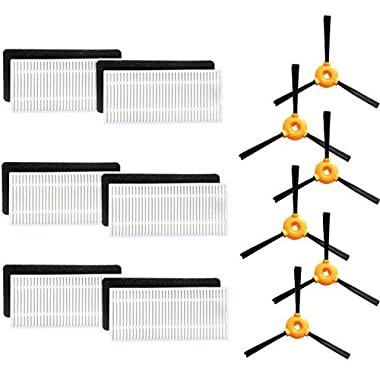 Replacement Parts for Ecovacs DEEBOT N79 Deebot N79S Robotic Vacuum Cleaner Accessories - Filters+ Side Brush (Pack of 18)