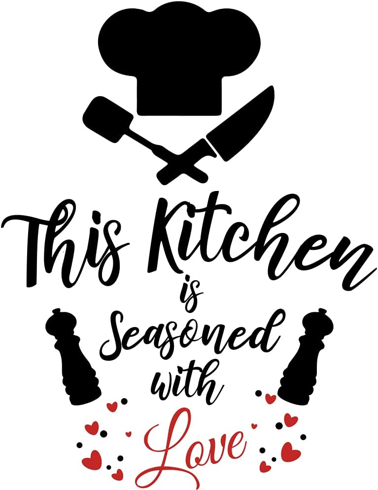 Kitchen Themed Inspirational Quotes Wall Decal Vinyl Stickers, Decoration for Kitchen Dining Room, Gift for New Home Owner mom dad Mother Father Grandma Grandpa Teacher boss Nurse (20''×24.5'')