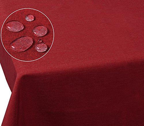 Laneetal 0800018 Tischdecke Leinendecke Leinenoptik Wasserabweisend Lotuseffekt Tischtuch Fleckschutz pflegeleicht abwaschbar schmutzabweisend Eckig 110x140 cm Rot