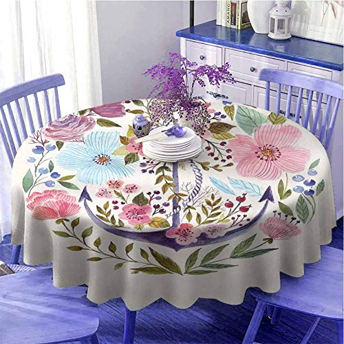 Decoración de la cocina Mantel redondo multicolor náutico y floral diseño ancla flores ramo acuarela símbolo marino tema sensación cálida diámetro 71 pulgadas blanco rosa verde