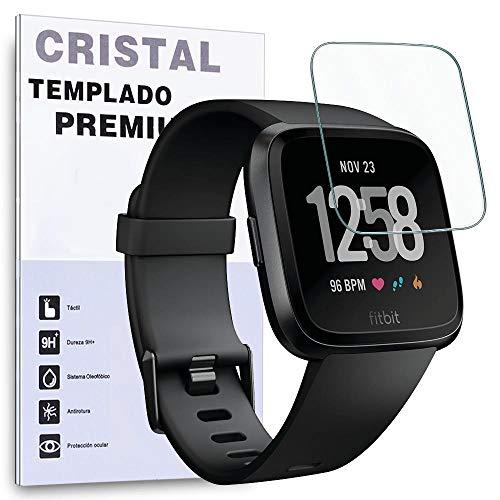REY - Protector de Pantalla para Fitbit Versa, Cristal Vidrio Templado Premium