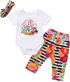 Weixinbuy Baby Girls Boys Cotton Letter Printed Romper Bodysuit Elastic Pants Trousers Clothes Set