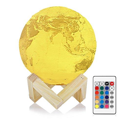 3D Erde-Lampe InLife Nachtlicht Tischlampe Schreibtischleuchte aus PLA, wiederaufladbar, mit 16 Farben Fernbedienung/Touch-Schalter, USB-Ladeanschluss und Holzhalter