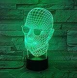 Neuheit glas schädel 3d led licht schreibtisch tischlampe dekoration geschenk kind urlaub usb 7...
