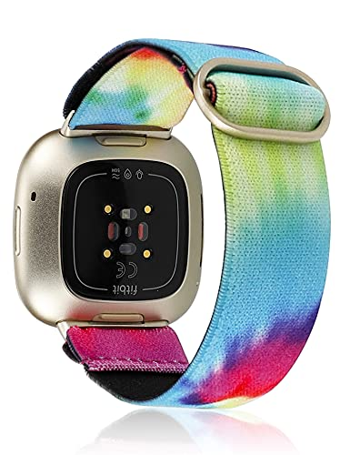 TOYOUTHS Compatible with Fitbit Versa 3 Bands Elastic Replacement for Fitbit Sense Adjustable Nylon Fabric Strap Scrunchies Solo Loop Bracelet Stretchy Wristband Women Men (Tie Dye Rainbow)