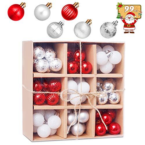 HBHS Suddefr Bola de Navidad, 99 piezas, 30 mm, irrompible, minijuego de bolas colgantes, adornos de árbol de Navidad para vacaciones, bodas, decoración de fiesta.