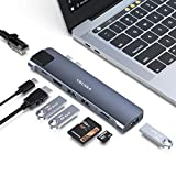 VKUSRA Hub USB C, 8 en 1 Tipo C Hub Adaptador, Thunderbolt 3, 4K HDMI, 3 Puertos USB 3.0, Gigabit Ethernet, Lector de Tarjetas TF/SD, Transferencia de Datos Tipo c para MacBook Pro/Air 2020/2019/2018