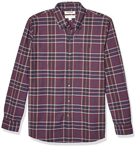 Goodthreads Standard-fit Long-Sleeve Plaid Oxford Shirt Camisa abotonada, Purple Red Tartan, XXL