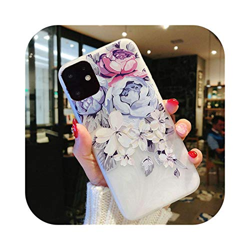 Phone cover Für iPhone 11 Pro Max X XR XS 6 6S 7 8 Plus Matte Tricky 3D Kunst Rose Blume Malerei Relief Soft TPU Back Cover Fundas-T3-For iPhone 11Pro Max