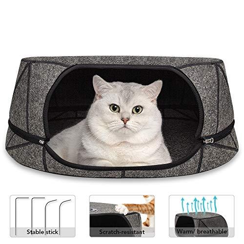 GoZheec® Katzenbett aus Filz, Katzenhöhle Sommer mit Matte Waschbare Katzennest Abnehmbare Haustierbett mit Reißverschluss, für alle Jahreszeiten geeignet (Grau)
