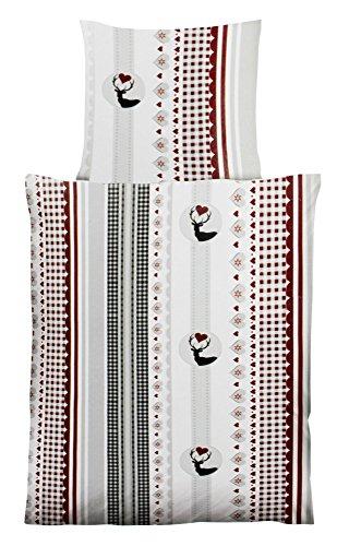 Haus und Deko Bettwäsche Hüttenzauber Microfaser Garnitur 2-teilig mit Reißverschluss Set Deckbett 135x200 + Kissen 80x80 cm Design Hirsch