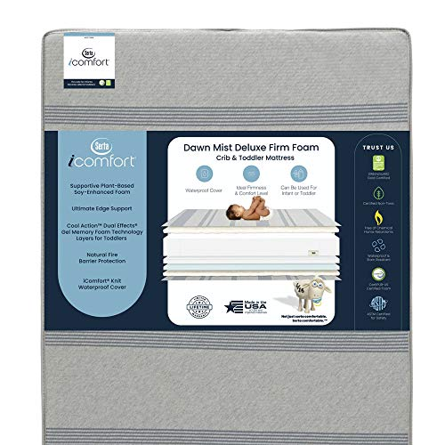 Serta iComfort Dawn Mist Deluxe Firm Memory Foam Crib and Toddler Mattress ; Waterproof ; GREENGUARD Gold Certified ; Trusted Brand ; Made in The USA