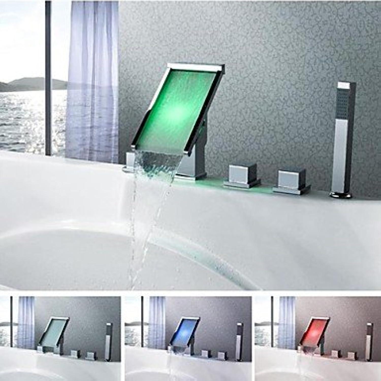 Charmingwater verchromt LED Farbwechsel Wasserfall Badewanne Wasserhahn mit Handbrause