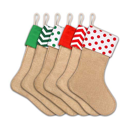 Ccinee - Calza di Natale in iuta, da appendere, per regali, progetti fatti a mano, confezione da 6