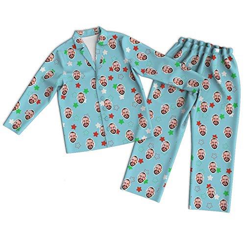 BAOSHOU Pijama Facial Personalizado Traje de Pijama Personalizado para Mujeres y Hombres Un par de Pantalones Largos y Casuales
