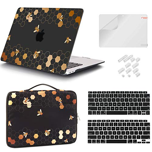 iCasso Case Compatible MacBook Air 13 Inch Case 2020 2019 2018 Release Model A2337 M1/ A2179/A1932 Touch ID, Honeycomb Plastic Hard Shell Case, Sleeve Bag, Screen Protector, Keyboard Cover & Dust Plug