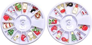 Beaupretty Caixas 2 Prego Natal Charms Alloy Manicure Ornamentos Christams Árvore Do Boneco de Neve de Santa Candy Cane Ar...