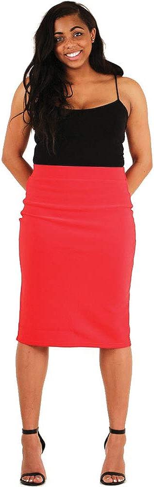 LAVRA Women's Plus Size Elastic High Waist Pencil Skirt Midi Bodycon