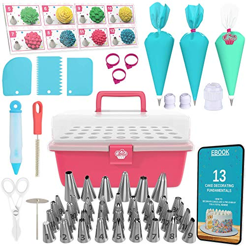 Cake Decorating Kit Cupcake Decorating Kit - 68pcs Cookie Decorating Supplies and Cookie Decorating Kit with Piping Bags and Tips - Frosting Icing Tips Pastry Bags with Tips - Baking Decorating Kit