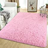 Softlife Fluffy Bedroom Area Rugs 5.3 x 7.6 Feet Shaggy Nursery Rug for Girls Baby Kids Dorm Room Modern Home Decorative Plush Indoor Floor Carpet, Pink