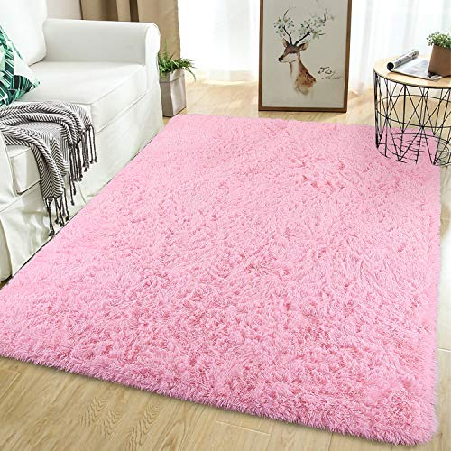 Softlife Soft Girls Bedroom Area Rugs 5.3' x 7.6' Fluffy Indoor Carpet for Kids Baby Living Room Dorm Room Luxury Large Modern Plush Decorative Nursery Floor Rug, Pink