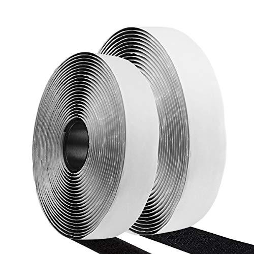 Etmury - Nastro adesivo autoadesivo a doppia faccia, 5 m, con gancio e anello, riutilizzabile, colore: nero