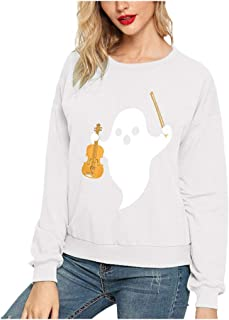 Women's Casual T Shirt Girl Loose Solid Color Pullover Halloween Print Long Sleeve Sweatshirt
