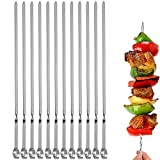 "12PCS Kabob Skewers Flat Metal BBQ Barbecue Skewer 14"" Long Stainless Steel Shish Kebob Sticks Wide Reusable Grilling Skewers Set for Meat Shrimp Chicken Vegetable, 12 Pack"