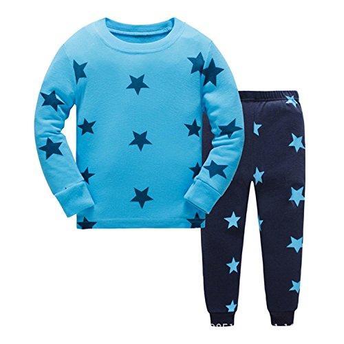 Tkiames Pyjama für Jungen, LKW, Dinosaurier, Kinder-Pjs mit langen Ärmeln, Nachtwäsche Gr. 3 Jahre, blau