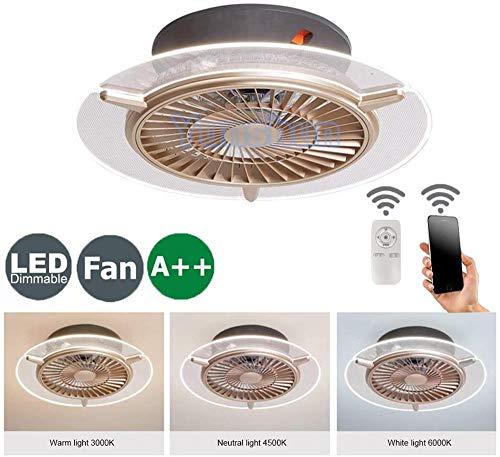 Deckenventilator mit Beleuchtung, Fan Deckenventilator LED Licht, Einstellbare Super starker Wind Ultra-leise, Dimmbar mit Fernbedienung,Moderne led Deckenlampe für Schlafzimmer Wohnzimmer Esszimmer