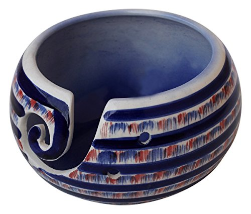 Deal for The Day - abhandicrafts - Ceramic Yarn Bowl for Knitting, Crochet for Moms - Beautiful Gift on All Occasions. A Perfect Gift for Moms and Grandmothers (Big Yarn_15)