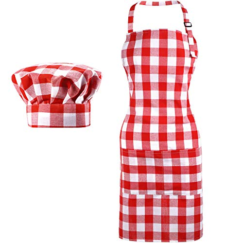 2 Pieces Chef Hat and Aprons Buffalo Plaid Check Women Apron for Christmas Holiday (Red and White)