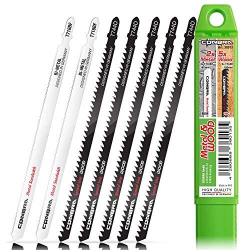 CONBRA ® Stichsägeblatt Set (7-teilig) - 5x T744D & 2x T718BF mit Kunststoffhülse