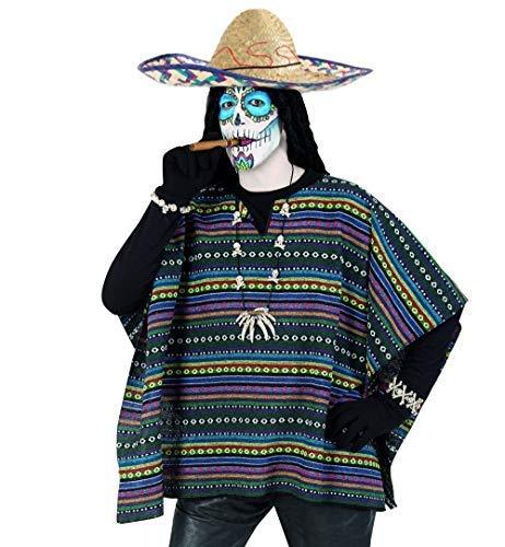 KarnevalsTeufel Kostüm Set Poncho und Sombrero 2-TLG. Hut Mexikaner und Poncho EL Taco bunt gestreift in Einheitsgröße
