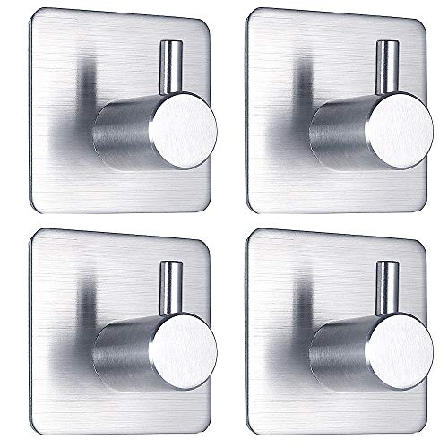 Adhesive Hooks Stick on Hooks Heavy Duty Wall Hooks Bathroom Hangers for Hanging Bathroom Kitchen Door Cabinet Stainless Steel-4 Packs