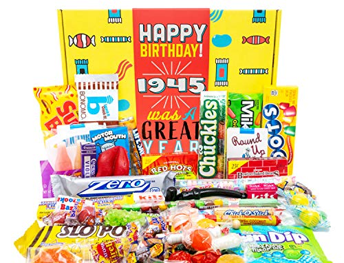 Woodstock Candy 1945 75th Birthday Gift Box of Nostalgic Candy from Childhood for 75 Year Old Woman or Man Born 1945