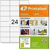 Universal Etiketten 600 Stück 70 x 37 mm weiß selbstklebend - 25 DIN A4 Bogen á 3x8 70x37 Labels/Sticker bedruckbar - 3474 4453 4615 LA133 FBA Internetmarke