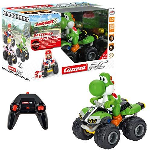 Carrera RC Nintendo Mario Kart 8 Yoshi Quad │ Ferngesteuertes Auto ab 6 Jahren für drinnen & draußen │ Mini Mario Kart Auto mit Fernbedienung zum Mitnehmen │ Spielzeug für Kinder & Erwachsene