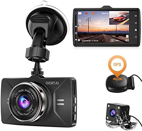 Dash Cam Front and Rear GPS Full HD 1080P CHORTAU Dual Dash Cam GPS for Cars Wide Angle 170 product image
