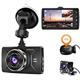 Dash Cam Front and Rear GPS Full HD 1080P CHORTAU,Dual Dash Cam GPS for Cars Wide Angle 170° 3 Inch LCD Screen,Front and Rear Camera for cars with Parking Monitor,Loop Recording, Night Vision,G-Sensor