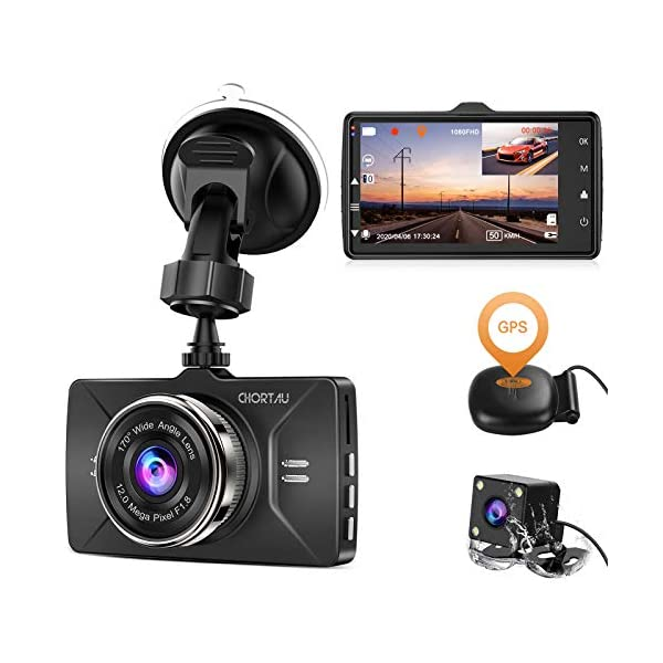 Dash Cam Front and Rear GPS Full HD 1080P CHORTAU,Dual Dash Cam GPS for Cars Wide...