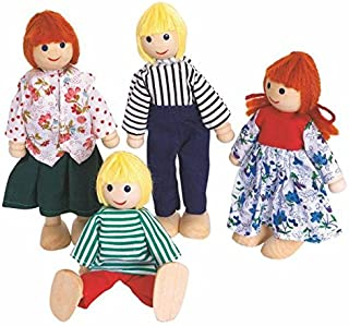 Woodyland Pretend Play Classic Dolls For Doll House (4-Piece)